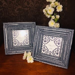 Adorable Country Blue Crackle Paint Picture Frames